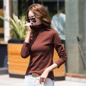 T-shirt Long Sleeve High Collar Women's Tops Autumn Winter T-shirt Fashion Slim Bottoming Shirt Cotton T-shirt Plus Size Ladies Pullover
