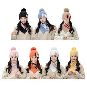 Women Winter Knit 2Pcs Beanie Hat Turtleneck Collar Circle Scarf Set Contrast Color Striped Plush Lined Pompom Skull Cap