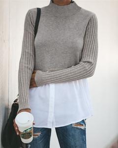 2021 Automne Femmes Designer Sweaters à panneaux De Mode Couleur Couille Tops avec bouton Femme Sexy Pullover Vêtements