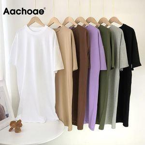 Aachoae Femmes Casual Casual Coton Solide T-shirt Robe O Mini robe surdimensionnée Batwing manches courtes robes de base Vestidos