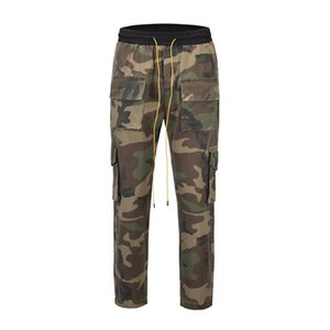 high quality 2020 fashion Cargo Full Length Pants men camouflage Loose Hip Hop ankle buttons Sweatpants Casual cool pants