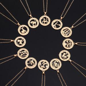 12 Zodiac Letter Constellations Pendants Necklace For Women Men Virgo Libra Scorpio Sagittarius Capricorn Aquarius Birthday Gift