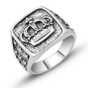 Moda hip hop coroa anel homens acessórios vintage punk rock grande motociclista signet anel prata cor tibetana jóias