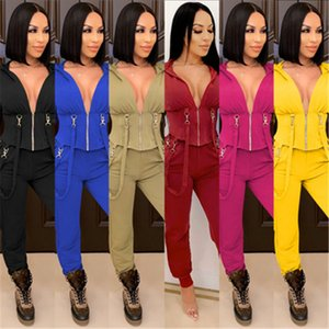 Women Sexy Skinny 2Pcs Sets Fashion Trend Long Sleeve Zipper V-Neck Hooded Tops Pant Suits Designer Female Winter New Casual Slim Tracksuits
