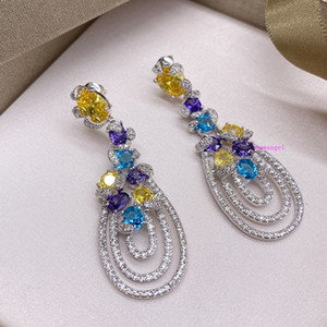 Colorful gemstone multi layer water drop dinner party color Drop Earrings retro national style design sense Earrings exaggeration