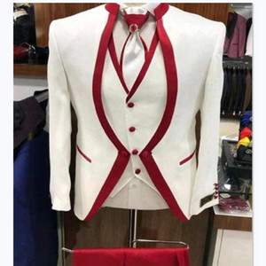 White Red Rim Stage Clothing For Men Suit Set Mens Wedding Suits Costume Groom Tuxedo Formal (Jacket+pants+vest)