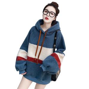 Mujeres invierno thick lana cordero sudaderas sudaderas con capucha cálida suelta de gran tamaño jersey estilo coreano sudaderas a rayas Harajuku Hoodie