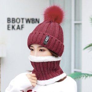 Beanie / Kafatası Kapaklar 2021 Set Kadınlar Örme Şapka Eşarp Boyun Isıtıcı Kış Bayanlar Kızlar Için Beanies Sıcak Polar