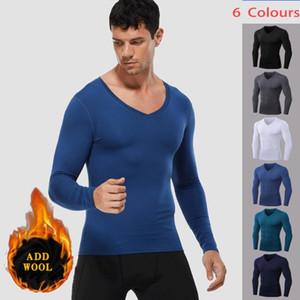 Lovmove Spandex Peluche con cuello en v fitness de manga larga Pro-apretada camisa de correr masculino Sport Top Athletic Jersey Gimnasio Ropa de compresión