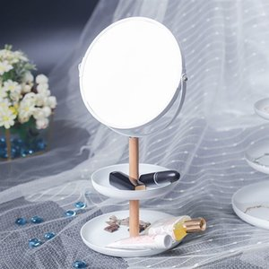 Japanese-Style Wooden Table Mirror 1x 5x Magnifiers Desktop Jewelry Display Plate Household 360 Degree Rotating Makeup Mirror Z1123