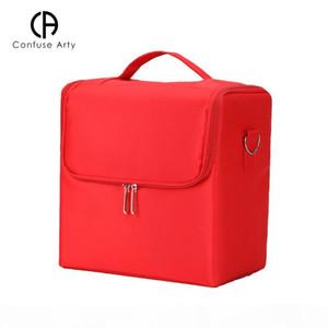 عالية السعة حقيبة مستحضرات التجميل متعددة الطوابق المهنية المحمولة حالة ماكياج المكياج تخزين مربع C19041201