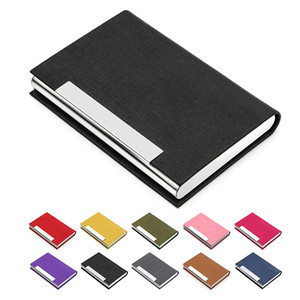 Business ID Credit Card Holder For Women Men Fashion Brand Metal Aluminum Card Case PU Leather Porte Carte