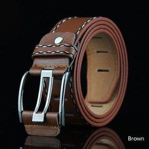 New Fashion Men Long 110cm Brown Jeans Belt Leather Double Pin Buckle Vintage Belts Straps Men's Ceinture 8C1280