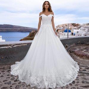 A Line Off the Shoulder Lace Wedding Dresses Vintage Appliques Lace Bridal Gowns Plus Size Corset Back Sweep Train Plus Size Marriage Dress