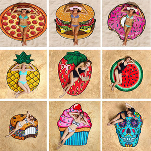 Round Beach Towels Polyester blanket Swimming Sunbath bikini shawl Scarf 150cm Pizza Hamburg Doughnut Bath Towel Tapestry Picnic Mats