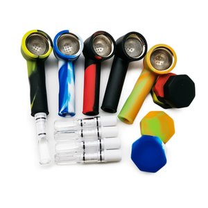 Silicone Smoking Tobacco Pipe Dab Rig Metal Filter Heating Screen with Filter Mouthpiece Tobacco Pipe Dry Herb Water Pipe