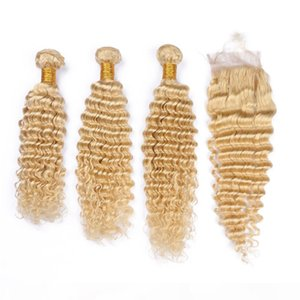 New Arrival Virgin Peruvian Blonde Human Hair Wefts Deep Wave with 4x4 Lace Closure #613 Blonde Virgin Hair Weaves 3Bundles with Closure