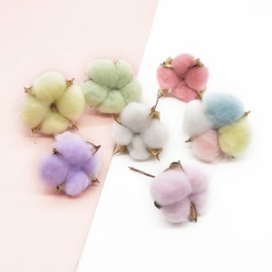 100pcs Artificial cotton Home decor Diy Christmas Wedding Naturally Dried Scrapbooking Fake flowers Holiday supplies Gift Y1201