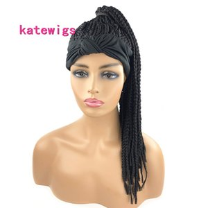 Black HeadBand Wig Synthetic Box Braided Head Wigs for African Women Curly Turban Hair Wigs