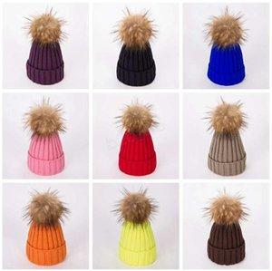 Winter Women Knitted Hat Warm Pom Pom big ball Wool Hat Ladies Skull Beanie Solid Female Outdoor Caps LJJA2808-61