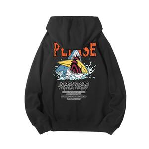 가을 / 겨울 2020 두꺼운 캐시미어 후드 힙합 상어와 까마귀 하라주쿠 streetwear