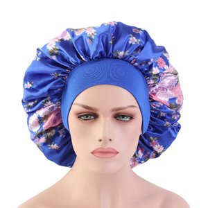 Women Satin Wide-brimmed Sleep Hat Large size floral print silky Elastic Bonnet Hat Hair Care Head Cover Hair Loss Shower Cap