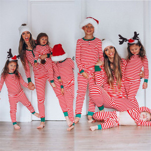 Christmas Family Matching Outfits for Adult Kids Baby Xmas Mommy and Me Party Pajamas Set Fashion Striped Print Couple Clothes