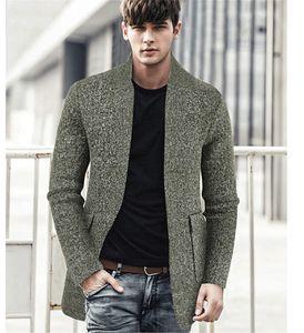 Mens Baseball Neck Sweater Coats Autumn Winter Slim Solid Color Pocket Mid Length Jackets Man High Fashion Knit Cardigan