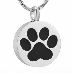 LKJ9738 Dog Cat Paw Print Memorial Urn Jewelry Round Stainless Steel Pet Cremation Keepsake Pendant Necklace For Ashes