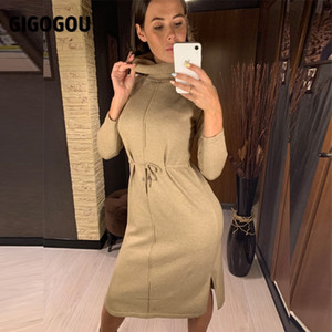 GIGOGOU Turtle Cowl Neck Long Knit Women Straight Dress 2020 Autumn Winter Drawstring Midi Dress Split Up Pullover Sweater Dress F1215