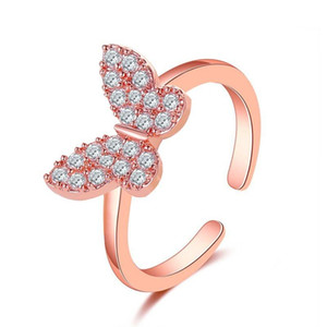 European New Butterfly Fashion Rings Simple Zircon Adjustable Opening Finger Ring For Women Ladies Hand Jewelry Dress Up