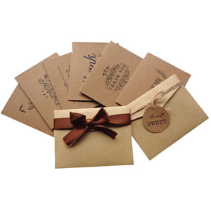 6pcs Vintage Kraft Paper Birthday Card Kids Gifts Greeting Card with Envelope Sticker Thank You Card Wedding Birthday Party Decor AL7703