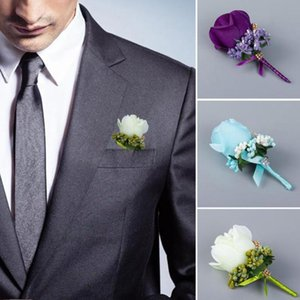 1 pc Ivory Red Best Man Corsage for Groom Groomsman Silk Rose Flower Wedding Suit Boutonnieres Accessories Pin Brooch Decoration