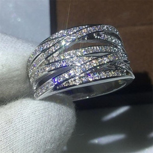 Choucong New Arrival Sparkling Classical Jewelry 10KT White Gold Fill Pave White Sapphire CZ Diamond Gemstones Women Wedding Cross Band Ring