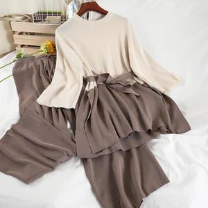 Alphalmoda Nuovo Maglione sciolto Spalato Top Dritto Pantaloni Dritto Donne Primavera Casual Knitwear Patchwork Color Sashes Ladies Lounget Set