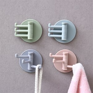 5KG Load Seamless Adhesive Hook Rotatable Strong Bearing Stick Hook Kitchen Wall Hanger Bathroom Kitchen Hooks DHL Free