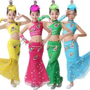 Children Traditional Dress Sequins Belly Dance Costume For Girls Peacock Kids Dai Fish Tail Leotard Girl Dancewear