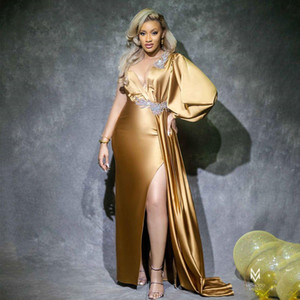 Sexy Gold Side Split Mermaid Evening Dresses Jewel Neck Long Sleeve Crystal Overskirt Celebrity Dress Plus Size Prom Gowns