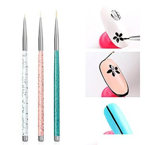 3pcs set Nail Art Liner Painting Pen 3D Tips DIY Acrylic UV Gel Brushes Drawing Kit Flower Line Grid French Designer
