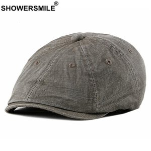 SHOWERSMILE Cotton Newsboy Cap British Vintage Flat Cap Men Beret Hat Spring Summer Brown Male High Quality Octogonal