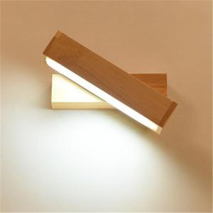 Japanischer Stil Holz Badezimmer Nacht LED Wandleuchte Modern Minimalist Wohnzimmer Kreative Spiegelkorridor Rotierende Wand Mischtuch