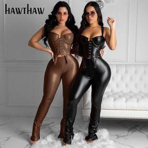 Hawthaw Femmes Autumn Hiver Party Club Débardeurs Slim Pantalon long Pantalon noir PU en cuir PU deux ensembles 2020 Vêtements d'automne Streetwear