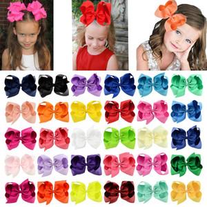 40 colores 6 pulgadas cinta arco clips de horquilla chicas grande Bowknot Barrette niños pelo boutique arcos accesorios para el cabello para niños para niños pequeños kfj14