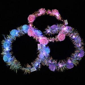 LED Luminous Wreath Glow Flower Crown Headband For Bride Wedding Party Night Market Glow Garland Crown Kid Toy Head Decoration FFE3100