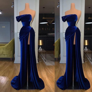 2021 Sexy Royal Blue Velvet Prom Dresses One Shoulder High Split Sleeveelss Floor Length Party Quinceanera High Split Formal Evening Gowns