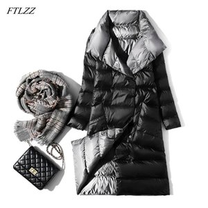 FTLZZ Ultra Light Long Jacket Women Winter Double Sided Slim White Duck Down Coat Single Breasted Turtleneck Warm Parkas