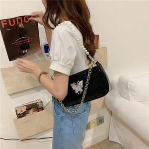 Butterfly Girls цепи подмышечные сумки винтажные черные багеет сумка для женщин патентная кожа бриллиант жемчуг мешок с кроватом Q1129