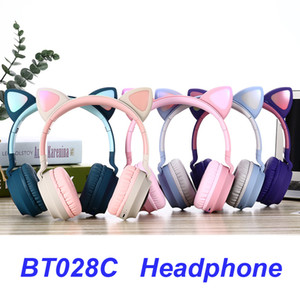 Cute LED Cat Ear Bluetooth Wireless Headphones foldable Cosplay Kids cat headphone Gaming Headset For music headset With Microphones BT028C