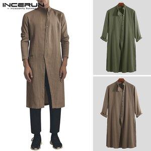 İncerun Pamuk Vintage Erkekler Gömlek Standı Yaka Uzun Kollu Düğme Uzun Gömlek Erkekler Pakistan Müslüman Giysileri Hint Y200409 Tops