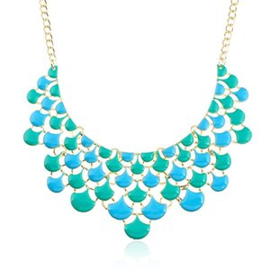 LZHLQ Brand Fashion Choker Necklace For Women fan-shaped Necklace Female Wholesale Maxi Statement Boho Bohemian Fashion